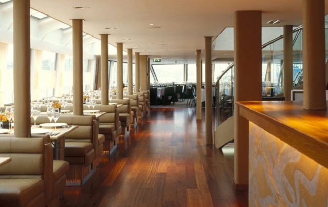 Silver Sturgeon Venue Hire WC2. Booths on decking for dining.