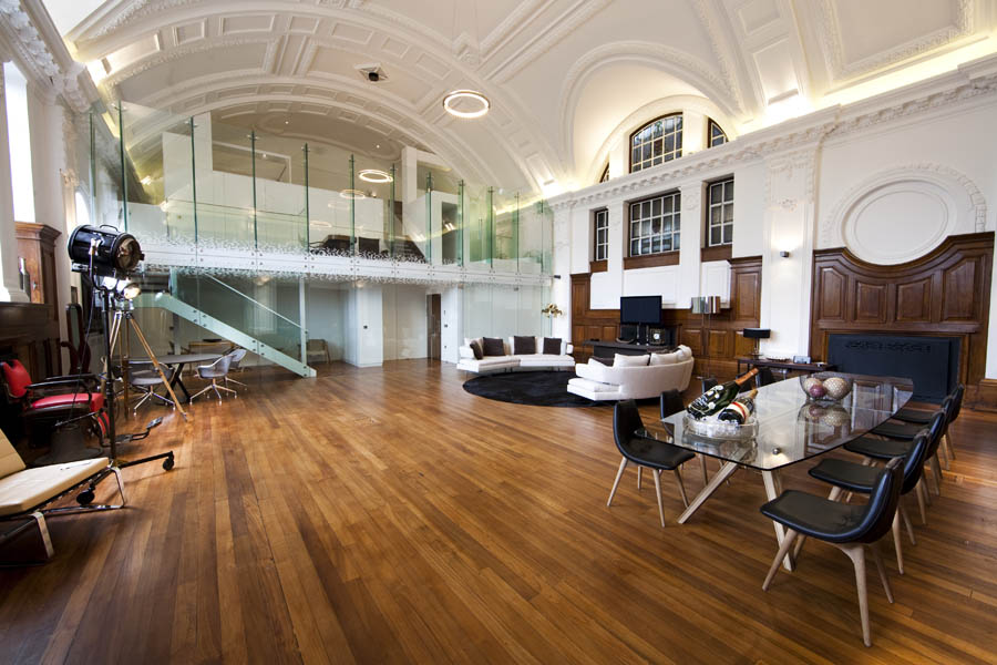 Town Hall Hotel London Christmas Party E2, event space with wooden floor and glass doors