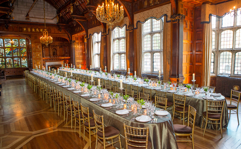 Two Temple Place Summer Party WC2, large tables, seated dinner, candelabras