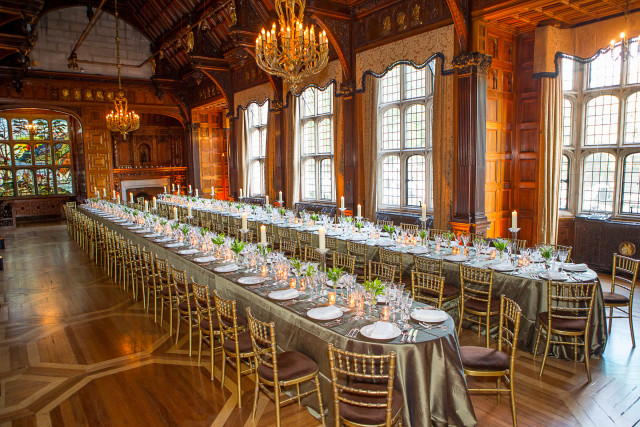 Two Temple Place Christmas Party WC2, seated dinner, large chandeliers, high ceilings, fireplace