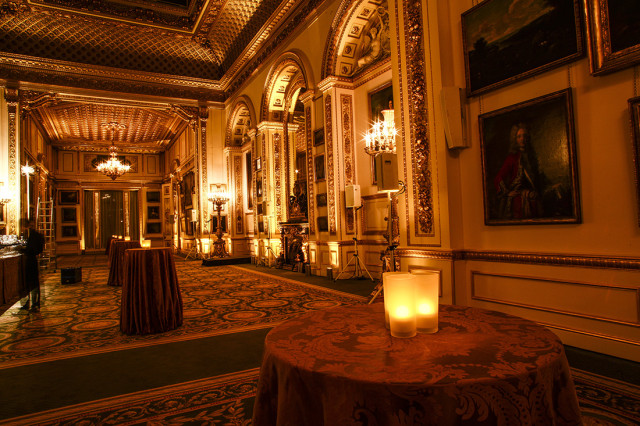 Lancaster House Christmas Party, rception drinks area, poseur tables, candles