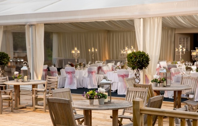 Warbrook House Summer party venue RG27, stunning decking and marquee for events