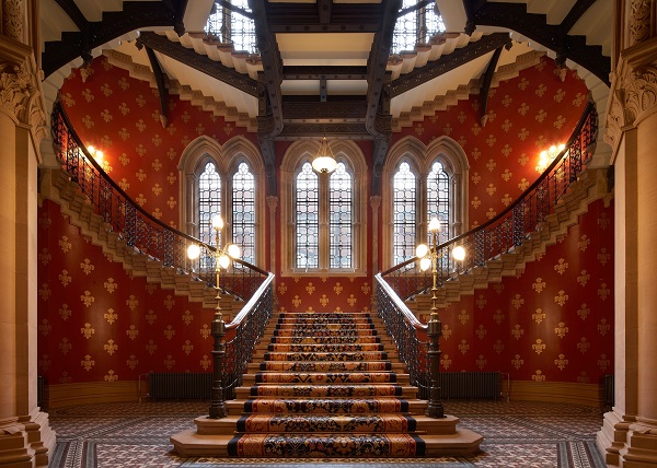 St Pancras Renaissance Christmas Party NW1. historic grand staircase
