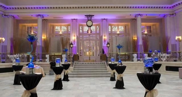 Waldorf Hilton Venue Hire WC2, reception drinks area, poseur tables, colour wash