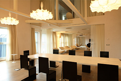 Nhow Suite with white interior decor and a bright and airy space Nhow Milan Venue Hire Italy