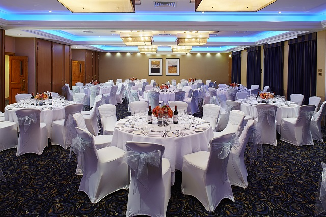 Rembrandt Hotel Venue Hire SW7. Inside of venue, set out for a events dinner.