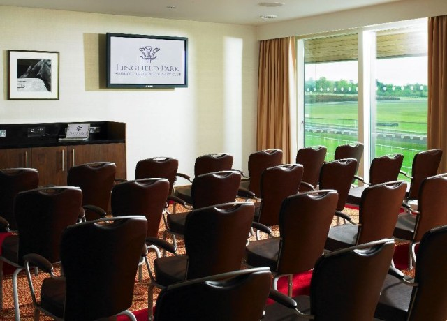 Meeting Room set for a meeting in theatre style with views over the racecourse Lingfield Park Hotel & Country Club Venue Hire RH7