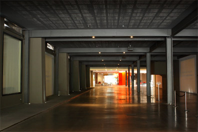 Tunnel with large open plan space and metal interior decor Nhow Milan Venue Hire Italy