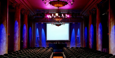 Waldorf Hilton Venue Hire WC2, conference event, theatre style seating, large screen