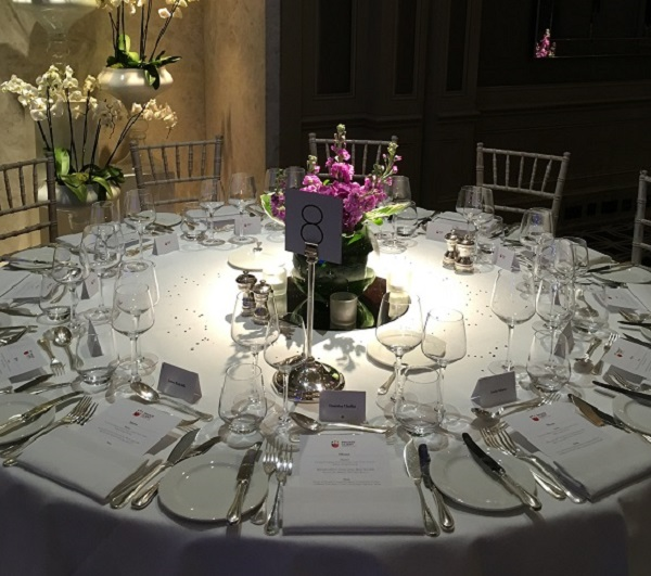 Hyatt Churchill Christmas Party W1H. Elegant table set up banqueting style and decorated for a Christmas party.