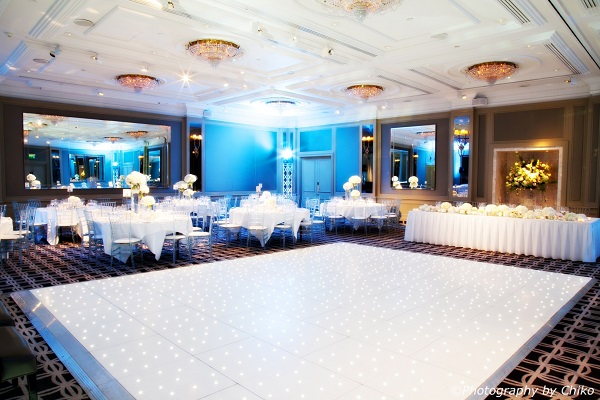Hyatt Churchill Christmas Party W1H. Christmas party, with dancefloor and tables set up as banqueting