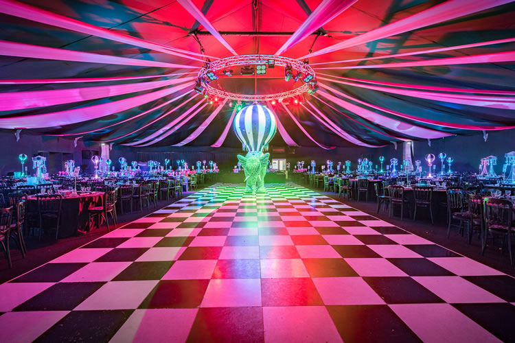 Beeston Hockey Club Christmas Party NG7, inside with large dancefloor and colourful lighting