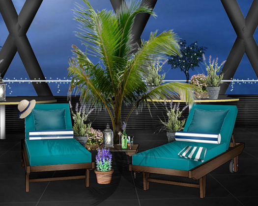 Sky Riviera Summer Party EC3. Venue themed for a summer party with deck chairs and palm trees for a feel of summer