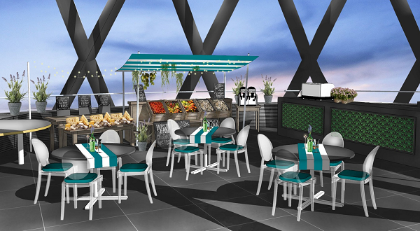 Sky Riviera Summer Party EC3. Themed summer party space with beach deck chairs and food stalls