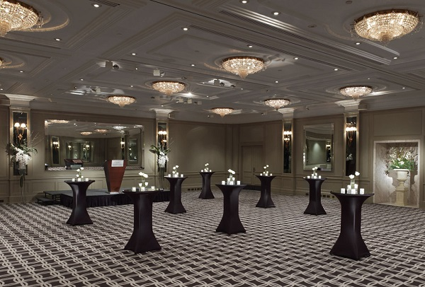 Hyatt Regency London Churchill Venue Hire W1H standing reception area with poser tables