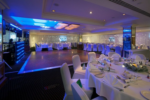 National Conference Centre Christmas Party B92. smaller event space being used for a dinner dance Christmas party