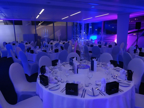 Crystal Christmas Party E16. Round tables for banqueting and guests to enjoy their evening.