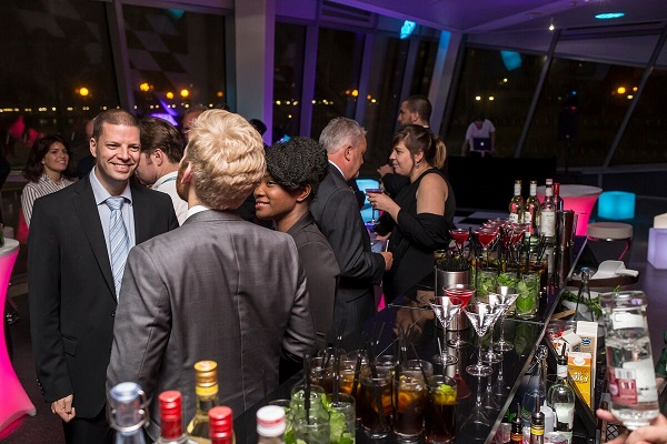 Crystal Christmas Party E16. Guests enjoying their standing reception.