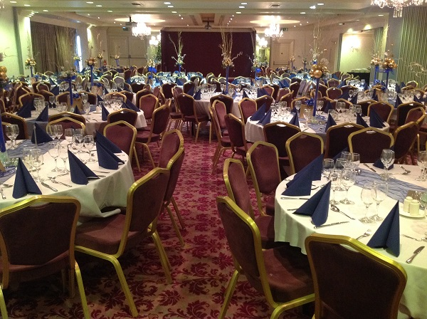 Bristol Christmas Party BS1. Christmas party in hotels balllroom, tables set out banqueting style