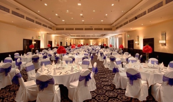 Tower Hotel Christmas Party E1W. Table set out banqueting style for Christmas Party