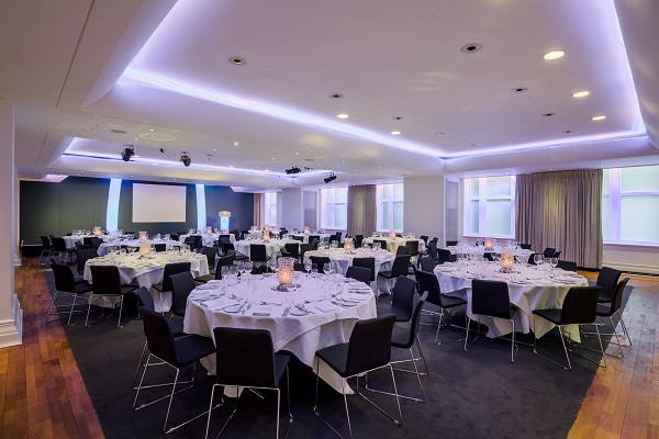 Andaz Liverpool Street Venue Hire EC2M. Tables and chairs set up for a dining experience