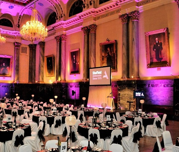 Cutlers' Hall, Sheffield Shared Christmas Party, S1 - Main hall dressed for a seated dinner dance