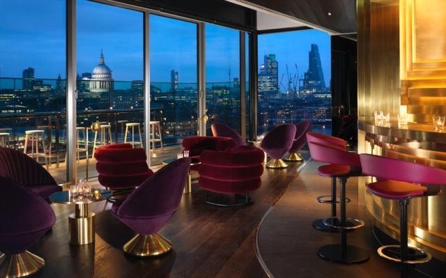 Mondrian Hotel Christmas Party SE1. Hotels lounge with views of London.