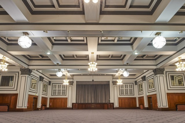 Palace Hotel Shared Christmas Party M6- Ballroom with painted ceiling and curtain