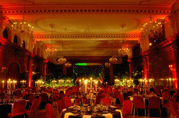 Speakeasy Shared Christmas Party W2- Ballroom dressed for a christmas dinner set out banqueting style