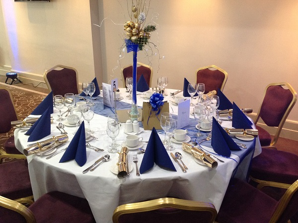 Bristol Christmas Party BS1. banqueting table set out with table dressings