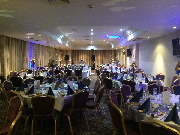 Bristol Christmas Party BS1. Banqueting tables set out with centre piece and cutlery