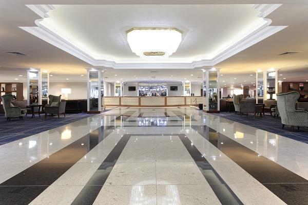 Renaissance London Heathrow Hotel TW6- enterance to the venue, marble lobby with chandellier