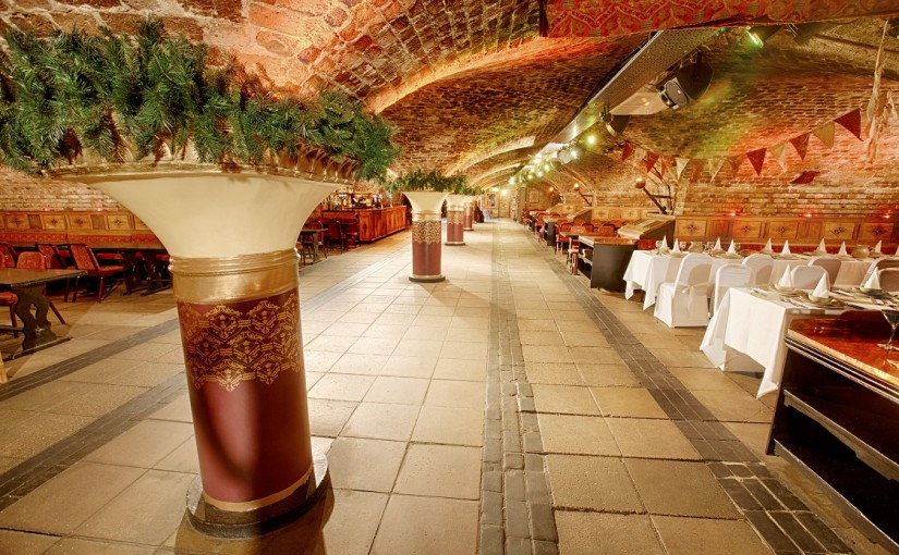 Medieval Banquet Christmas Party E1W- Medieval corridor featuring medieval style pillars