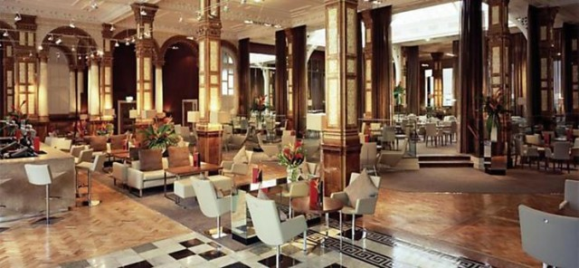 Palace Hotel Shared Christmas Party M6- Lobby area set out for a Christmas drinks reception