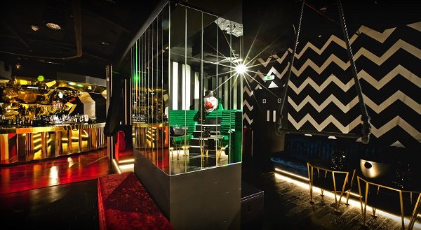 Cirque Le Soir Christmas Party W1F inside of nightclub with themed furnishings