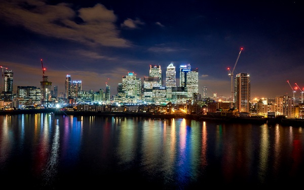 InterContinental O2 Shared Christmas Party SE10 evening view of London