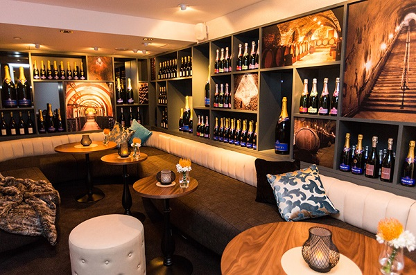 Crowne Plaza London City Christmas Party EC4V- Champagne library available for private bookings during the festive period