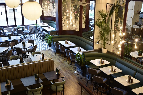 Browns Old Jewry Venue Hire EC2R birds eye view of downstairs with tables and chairs