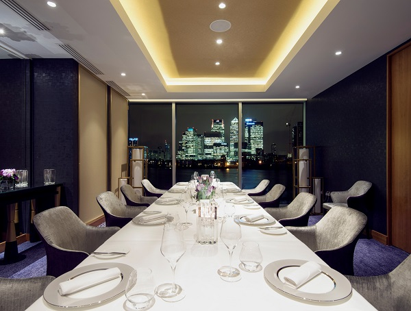 InterContinental London O2 Christmas Party SE10 suite inside of hotels restaurant