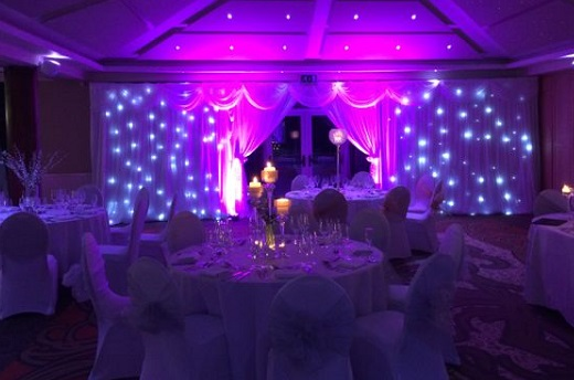 Formby Hall New Years Eve Party L37- Main ballroom set out banqueting style for a New Years Eve Party