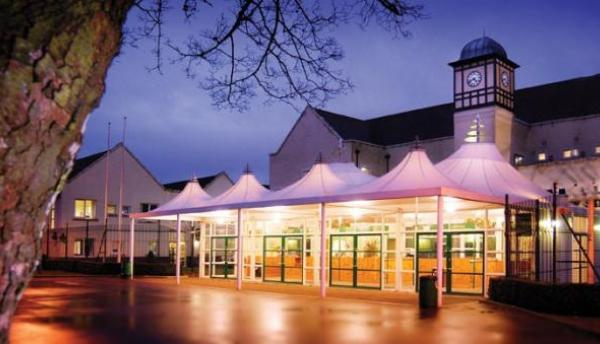 Haydock Racecourse Shared Christmas Party WA12 venue in evening lit up with festive lights