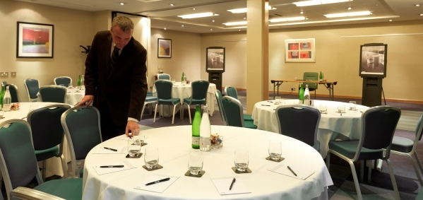 Thistle Atlantic Tower Venue Hire L3- Function room set out cabaret style for a conference