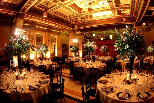 Freemasons' Hall Christmas Party WC2 tables set out in historic building for guests to enjoy their Christmas party