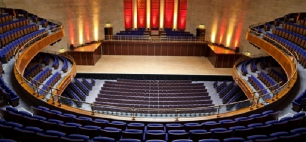 Sheffield City Hall Venue Hire S1- Main hall with theatre seating ready for a product launch