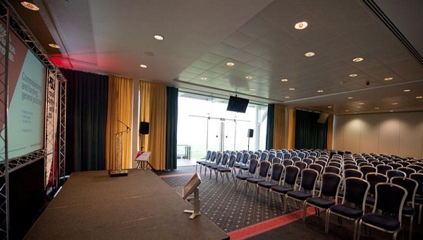 York Racecourse Conference Hire YO23- Function room set out for a conference set out theatre style
