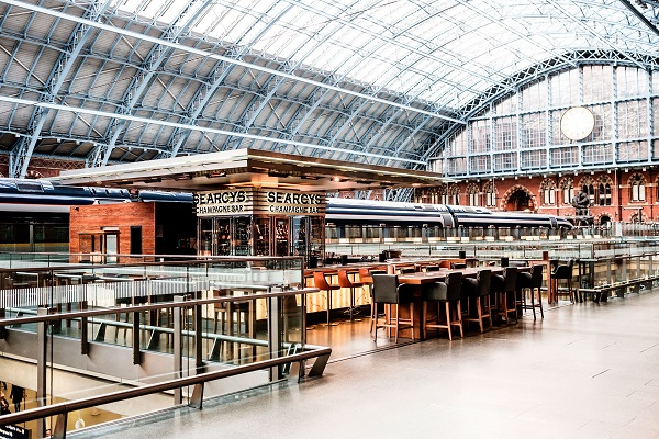 Searcys St Pancras Venue Hire NC1- Champagne bar enterance from the train platform