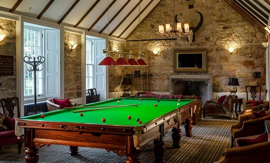 Carberry Tower Hogmanay EH21- Interior of the games room in the hotel