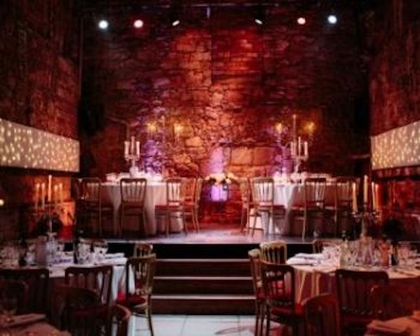 Caves Edinburgh Hogmanay EH1 Caves with round banqueting tables