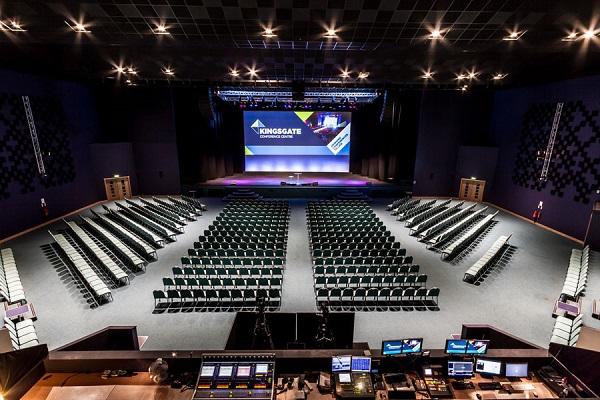 Kingsgate Conference Centre Venue Hire PE1 in auditrium of venue with seats set up theatre style