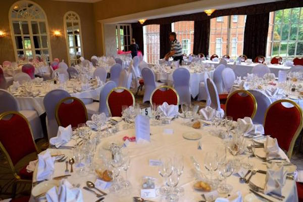 Royal Berkshire Christmas Party SL5 banqueting tables set up for a christmas party